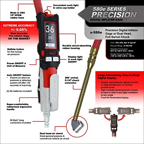 Milton s-586e Precision Digital Tire Inflator /& Pressure Gauge