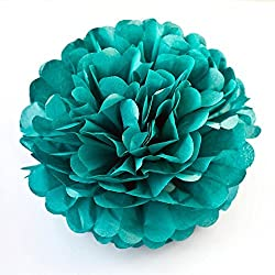 X-Sunshine 5pcs 8inch 10inch DIY Tissue Paper Flower Balls Outdoor Decoration Baby Girl's Room Craft Paper Pom Poms Hanging Flower For Party Wedding Christmas Birthday (5, Teal)