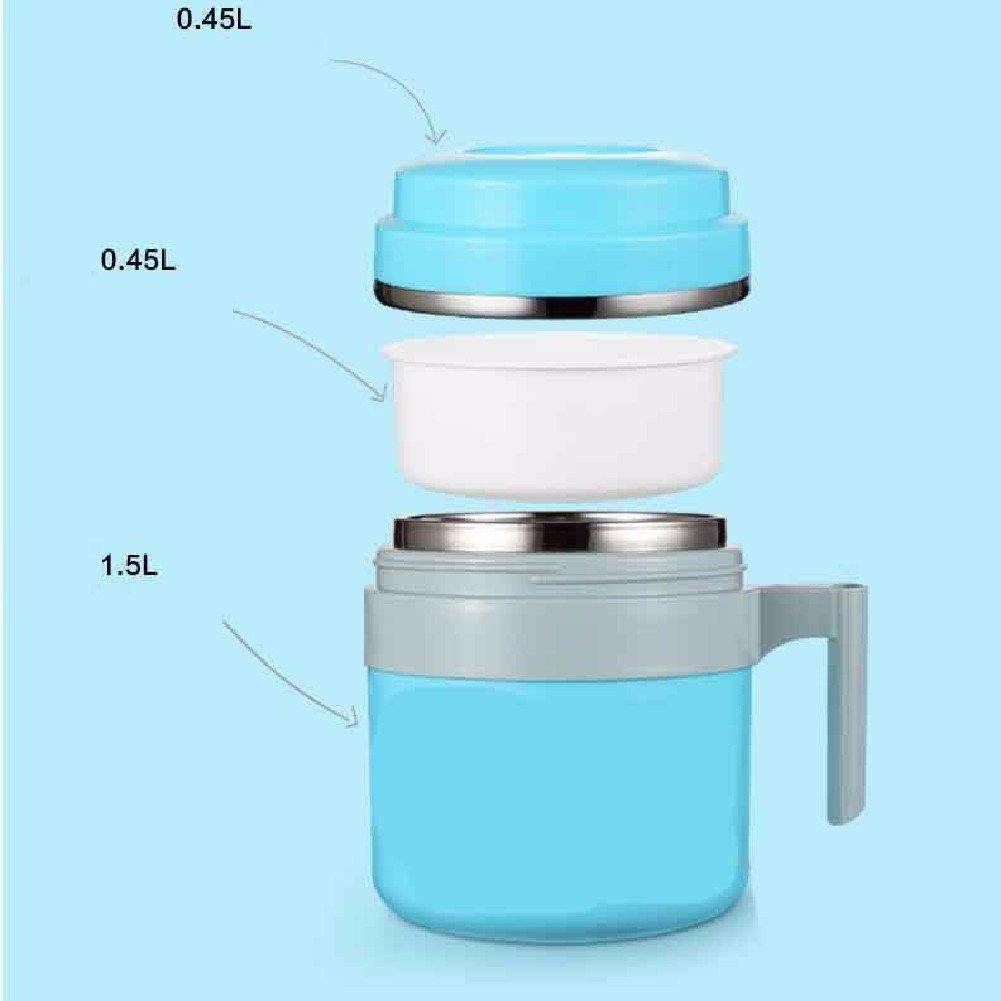 SDKKY Multi-funktionale Edelstahl Isolierung Mittagessenkästen, Unterraster Lunch-Box, zweistufigen Student Mahlzeit Esser,Blau
