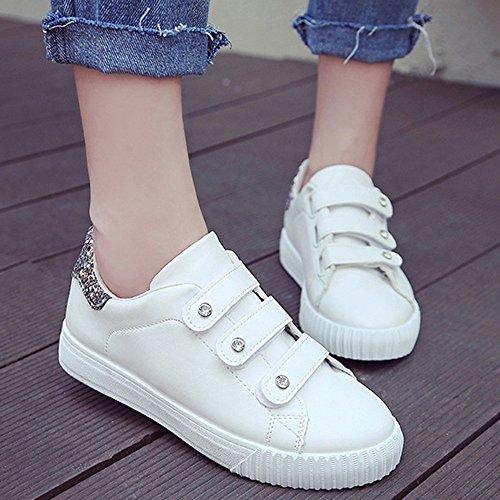 cn39 Chaussures Faible 2018 Ronde Confortable Nan 35 Et uk6 Sport Eu39 De Blanc Taille Plat Tête Femmes couleur Pour Fond Aide 40 Respirant Or Blanc Velcro rwt8SXqr