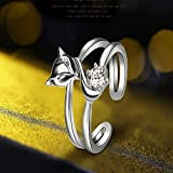 Sumanee Moda 925 Plateado Personalidad Doble Anillo Ajustable Anillo Fox Para Mujeres