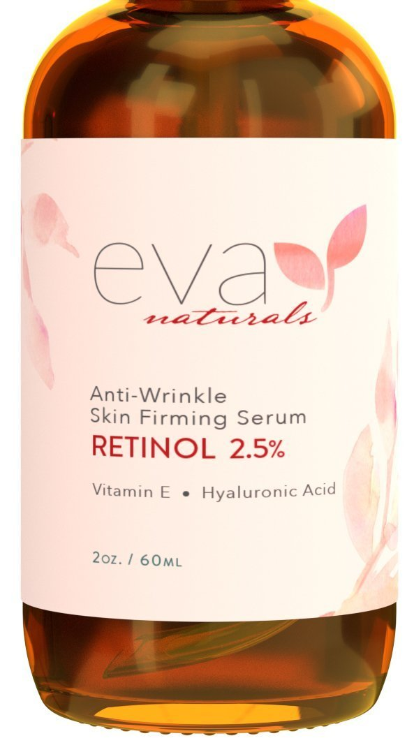 Retinol Serum 2.5% by Eva Naturals (2 oz, Double-Sized Bottle) - Best Anti-Aging Serum, Minimizes Wrinkles, Helps Prevent Sun Damage, and Fades Dark Spots - Vitamin A Retinol with Hyaluronic Acid by Eva Naturals