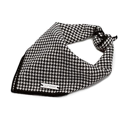 (The Harrington Houndstooth Dog Bandana - Black & White Shepherd Check Dog Bandana- Fits Small, Medium, & Large Dogs - Includes 1 Soft Breathable Cotton Bandana - Size Large Dog Bandana 21x21