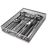 JANE EYRE Utensil Drawer Organizer, Cutlery Tray, Silverware Holder Flatware Storage Divider for Kitchen, Mesh Designing with Non-slip Foam Feet, 5 Compartments, Silver