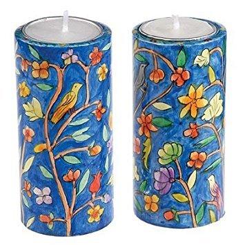 Shabbat Candlesticks Holders - Jewish Set - Yair Emanuel ROUND SHABBAT CANDLESTICKS ORIENTAL (LARGE) (Bundle)