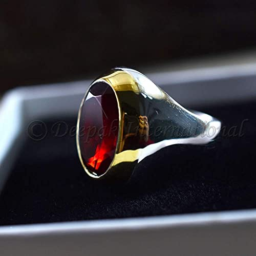 Solid 925 Sterling Silver Mans Ring Ruby Hydro Mans Ring Two Tone Ring Garnet Glass Gemstone Ring Mans Huge Ring Healing Gemstone Ring Garnet Ring Valentine/'s Day Ring