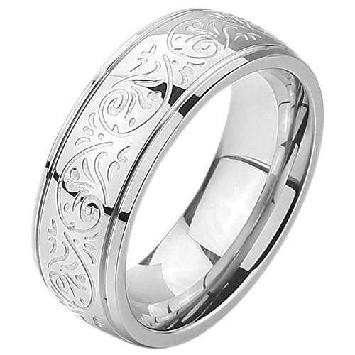 INBLUE Men's 7mm Stainless Steel Ring Band Silver Tone Engraved Florentine Design Size 4~154