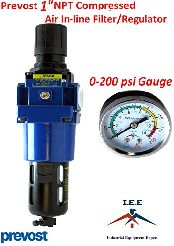"Industrial Equipment Expert Prevost Compressed Air Inline Filter & Regulator Combo 1"" FNPT TM205 Piggyback"