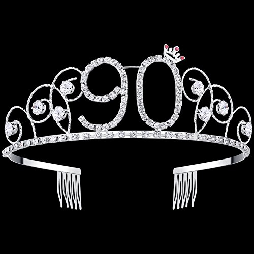 BABEYOND Crystal Birthday Tiara Crown Princess Birthday Crown Hair Accessories Happy 90th Birthday Crown Tiara for Women (90 Birth) -