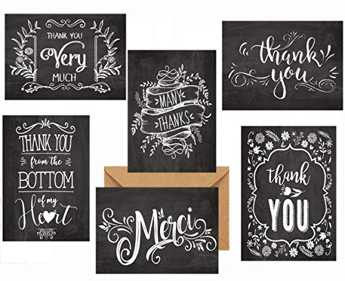 Black Retro Thank You Cards 36 Pack, Thank You Notes for Wedding, Baby Shower, Graduation, Work Anniversary, Teacher and Employee Appreciation, 6 Vintage Rustic Style, Include Envelopes & Sticker