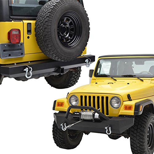 E-Autogrilles Black Textured Off Road Front and Rear Bumper Combo for TJ or YJ