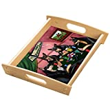 Home of Australian Kelpies 4 Dogs Playing Poker Wood Serving Tray with Handles Natural
