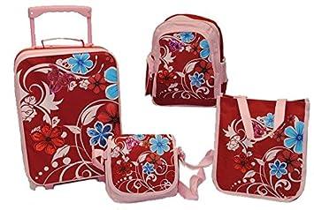 4 piezas Kit de viaje: Trolley + Mochila + Bolso + Bolso - Flores: Amazon.es: Juguetes y juegos