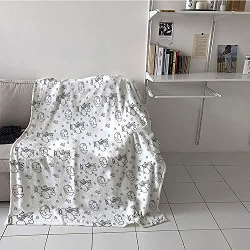 Khaki home Children's Blanket Throw Print Summer Quilt Comforter (30 by 50 Inch,Airplane,Restful Good Night Theme Pattern with Sleeping Crescent Moon Stars Cute Fox Pilot,Black White