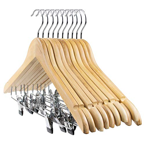 Tosnail 10 Pack Wooden Pant Hanger Wooden Suit Hangers With Steel Clips And Hooks Natural Wood Collection Skirt Hangers Standard Clothes Hangers