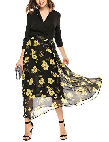 ANGVNS Sleeve Floral Chiffon Belted