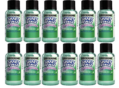 Listerine Smart Rinse Kids Mouthwash, Children 6+ Years Old, Mint Shield Flavor, Travel Size 09.oz (27ml) - Pack of 12