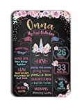 TJ Reusable Easy Clean Metal Tin Unicorn Party Theme My First Birthday Chalkboard Style Sign Wall Decor Signs 8'' x 12''- Customizable with Liquid Chalk Markers