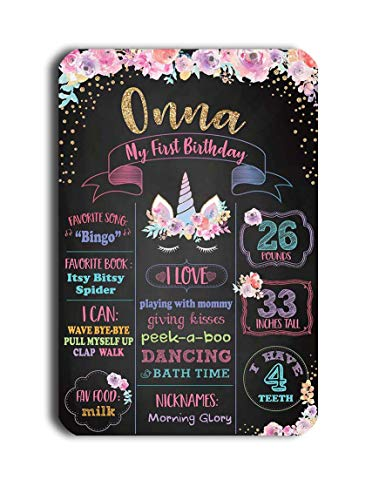 TJ Reusable Easy Clean Metal Tin Unicorn Party Theme My First Birthday Chalkboard Style Sign Wall Decoration Signs 8'' x 12''- Customizable with Liquid Chalk Markers ()