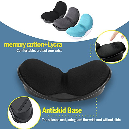 Mouse Wrist Rest, Iwork Wrist Rest Pad For Easy Typing Pain Relief Keyboard Wrist Rest Memory Foam Wrist Rest For Office/Gaming/Computer/Laptop/Mac Mouse Wrist Rest Pad Support Gaming (black) by Iwork (Image #5)'