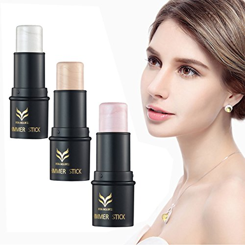 Face Lip Shimmer Stick (CCbeauty 3 Colors Illuminator Face Highlighter Makeup Sticks Whitening Cream Shimmer Stick Powder Foundation Stick, 0.36Oz)