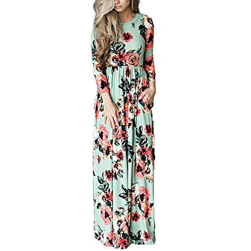 HOOYON Women's Casual Floral Printed Long Maxi Dress with Pockets(S-5XL),Green,X-Large