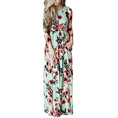 Light Green Long Sleeve Nightgown - HOOYON Women's Casual Floral Printed Long Maxi Dress with Pockets(S-5XL),Green,Medium
