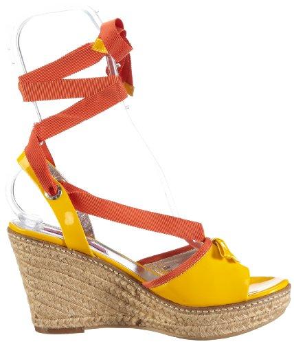 JETTE Colour Fever Wedge Sandal 63/21/14475 - Sandalias de vestir de cuero para mujer Amarillo