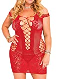IYISS Women's Seamless Hollow Out Fishnet Chemise Standard N Plus (Plus Fits XL-3XL, Red)