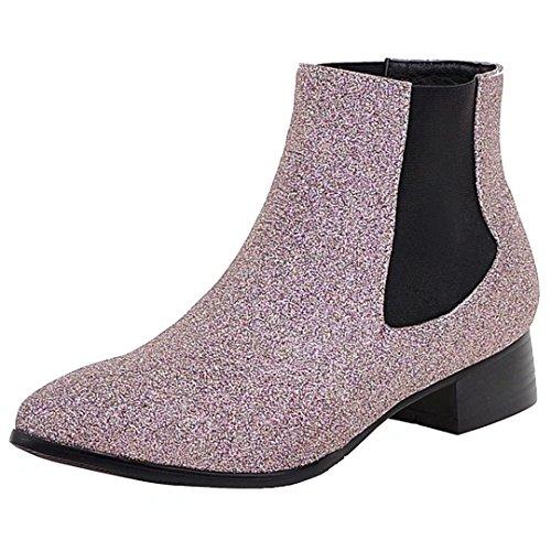 Aiyoumei Vrouwen Glitter Puntschoen Lage Hak Booties Herfst Winter Casual Enkellaars Roze