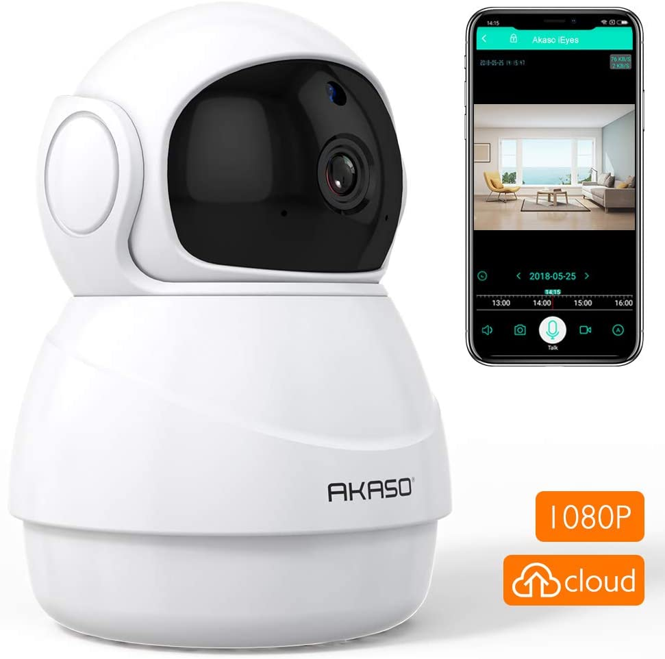 AKASO WiFi Security Camera IP Camera, 1080P HD Wireless Home Surveillance Baby Pets Monitor with Two-Way Audio,Phone APP Remote Access,Pan Tilt,Motion Detect,Panoramic Navigation,3D Positioning P20