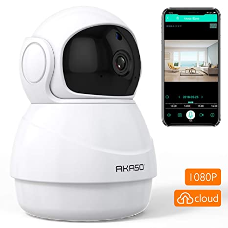 Wifi Security Camera IP Camera - AKASO 1080P HD Wireless Home Surveillance Baby/Pets Monitor with Two-Way Audio,Phone APP Remote ...