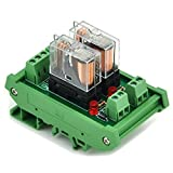 ELECTRONICS-SALON DIN Rail Mount 2 SPDT 16A Power Relay Interface Module,G2R-1-E DC12V Relay