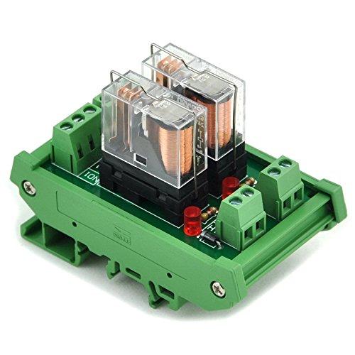 Electronics-Salon DIN Rail Mount AC/DC 12V control 2 SPDT 16Amp Pluggable Power Relay Module, G2R-1-E