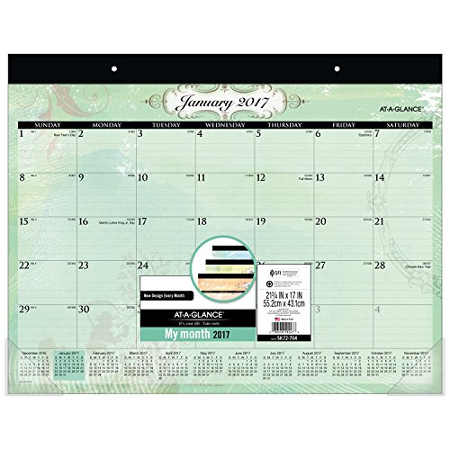 """AT-A-GLANCE Desk Pad Calendar 2017, Monthly, 21-3/4 x 17"""", P"""