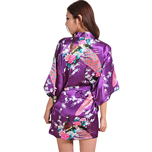 Oblique Rétro Courte Robes Violet Demoiselle V Vintage Missmao Satin Kimono Nuit D'honneur Robe En De Vêtements Mariée Foncé Casual Femmes Col IwqxHZXxzS