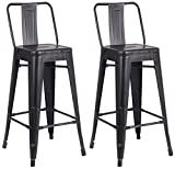 30 Inch Bar Stools with Back AC Pacific Modern Light Weight Industrial Metal Bucket Back Barstool, 30