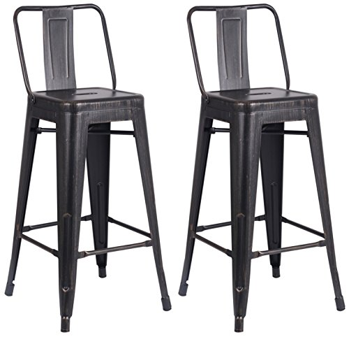 Outstanding Ac Pacific Modern Light Weight Industrial Metal Bucket Back Barstool 30 Seat Height Counter Stool Set Of 2 Distressed Black Finish Theyellowbook Wood Chair Design Ideas Theyellowbookinfo