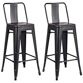 AC Pacific Modern Industrial Metal Barstool with Bucket Back and 4 Leg Design, Seat Bar Stools (Set of 2),