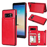 (US) Samsung Galaxy Note 8 Slim Fit Premium Leather Wallet Case Card Slots Shockproof Folio Flip Protective Defender Shell