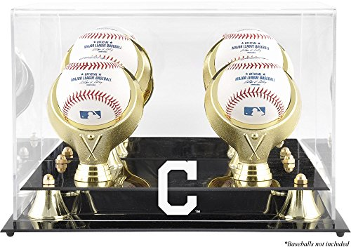 Display Baseball Cleveland Indians (Mounted Memories Cleveland Indians 4-Ball Golden Classic Logo Baseball Display Case)