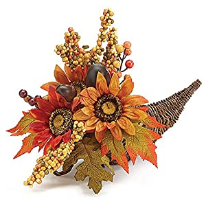 "16"" Fall Flowers Sunflowers Acorns & Berries Autumn Cornucopia Arrangement 27"
