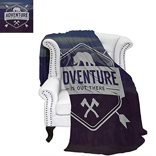 warmfamily Adventure Oversized Travel Throw Cover Blanket Adventure Logo with a Motivational Quote Hatchets and Bear Mountain Landscape Super Soft Lightweight Blanket 60