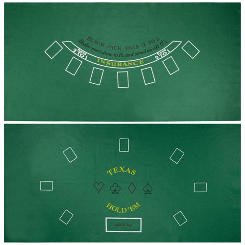 Brybelly Blackjack & Texas Hold 'Em Felt Mat - 2-in-1 Gaming Table Top for Poker Games & Blackjack -Casino-Style, Spill-Proof Layout Cloth Card Table