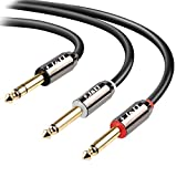 J&D Gold Plated [CopperShell][HeavyDuty] 6.35mm 1/4'' TRS Male to 2 X 6.35mm 1/4'' TS Male Stereo Audio Adapter Cable - 15 Feet