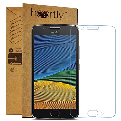 Heartly Tempered Glass Protective 2.5D 0.3mm Pro 9H Hardness Toughened Screen Protector for Motorola Moto G5