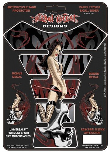 Lethal Threat YSLT70018 Skull Rider Tank Pad for All Sportbikes