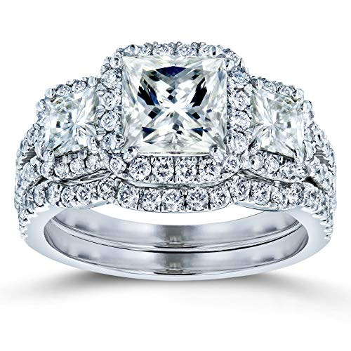 Princess Moissanite Halo 3-Stone Bridal Rings Set 3 1/10 CTW 14k White Gold, 7