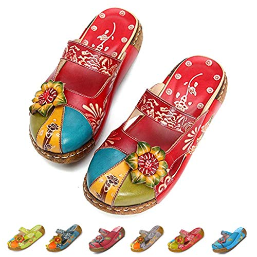 gracosy Leather Slipper, Women's Oxford Slipper Vintage Slip-Ons Mule Clog Colorful Flower Backless Loafer Shoes Red 41 EU
