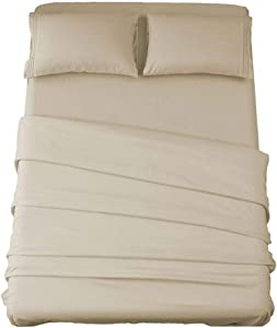 Sonoro Kate Bed Sheet Set Super Soft Microfiber 1800 Thread Count Luxury Egyptian Sheets 16-Inch Deep Pocket,Wrinkle and Hypoallergenic-3 Piece (Beige, Twin)